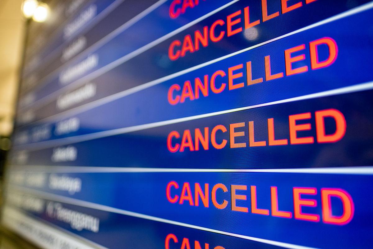 canceled flight screen at an airport